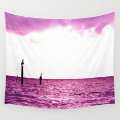 Pink Pelican Wall Tapestry by julieart