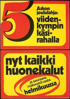 Askon joululahja: viidenkympin käsirahalla nyt kaikki huonekalut - Askon vanha mainos Old Ads, Nostalgia, Retro, Retro Illustration, Old Advertisements