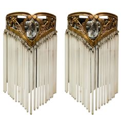 1stdibs | Pair of Art Nouveau Bronze and Crystal Sconces with Suspended Glass Rods
