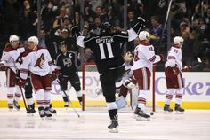 Los Angeles Kings #11 Anze Kopitar celebrating his first goal of the season