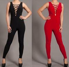 SEXY BLACK RED CRISS-CROSS CUT OUT LACE-UP FRONT OPEN BODYSUIT CATSUIT S M L #MialnoUSA #Bodysuit