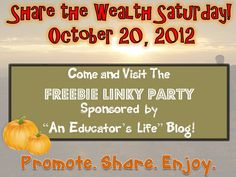 An Educator's Life: Share the Wealth Freebie Linky- October 20, 2012