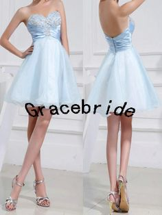 Light blue tulle and satin cocktail dress with hand-made rhinestones sweetheart party dresss short bridesmaid dress sweet cute  prom gowns on Etsy, $113.71 CAD