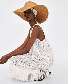 Image 4 of LACE DRESS WITH FRINGING from Zara