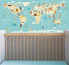 Animals theme world map wall mural sticker educational baby nursery bedroom wall art decor peel and stick (162x78cm)