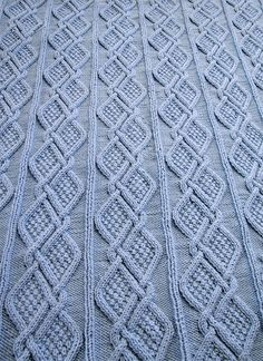 Free Knitting Pattern for Moss Diamonds Cabled Baby Blanket - Designed by Knitti. Free Knitting Pattern for Moss Diamonds Cabled Baby Blanket - Designed by Knitting Unlimited. Finished size: 40 x . Cable Knit Blankets, Knitted Baby Blankets, Free Knitting, Baby Knitting, Easy Blanket Knitting Patterns, Baby Blanket Tutorial, Baby Blanket Size, Baby Patterns, Quilting Patterns