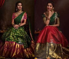 Want to shop super pretty and affordable half sarees of Do check out this brands collection. Half Saree Designs, Sari Blouse Designs, Fancy Blouse Designs, Saree Blouse Patterns, Lehenga Designs, Raw Silk Lehenga, Half Saree Lehenga, Saree Dress, Half Saree Function