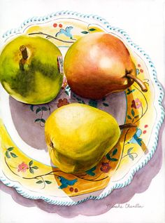 Fine Art Marketplace : 3 Pears and a Plate by Marsha Chandler - Artists Medium Style / Subject Watercolor Fruit, Watercolor And Ink, Watercolor Paintings, Watercolors, Still Life Drawing, Painting Still Life, Fruits Images, Watercolor Techniques, Vintage Italian