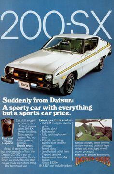 1977 Nissan Datsun 200-SX Car Ad Vintage Auto by AdVintageCom