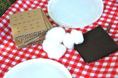 pretend smores - Sadie has loved roasting marshmellows in the past, so this will be a fun way to bring it indoors