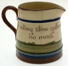 Vintage Longpark Art Pottery Torquay Ware large jug - cottage pattern ...