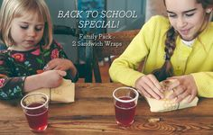 BACK TO SCHOOL SPECIAL Family pack - 2 Sandwich wraps!