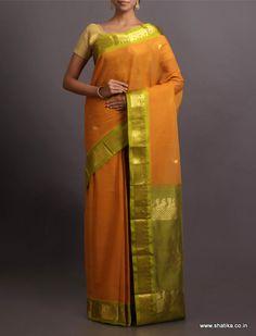 Devaki Mango Paisley Color #Combination #GadwalCotton #Saree