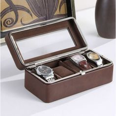 Charlton Home Leather Lining Tempered Glass Watch Box Mens Watch Box, Leather Watch Box, Watch Accessories, Trendy Accessories, Handbags For Men, Velvet Cushions, Closet Designs, Displaying Collections, Man Stuff
