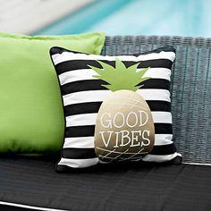 Good Vibes Pineapple Outdoor Pillow | Kirklands