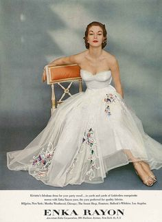 ~A wedding worthy, wonderfully pretty white evening dress from 1951~ 50s Enka Rayon color photo print ad model magazine floral embroidered white gown