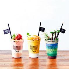 Food Menu Design, Food Truck Design, Food Packaging Design, Yogurt Bar, Yogurt Cups, Candy Drinks, Yummy Drinks, Japan Dessert, Boba Drink