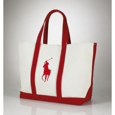 Ralph Lauren Big Pony Canvas Handbag Red/White   ,the greateat discount, 77% off.