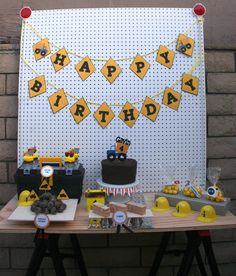 Dump Truck Construction Happy Birthday Banner