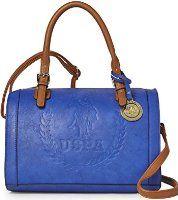 US Polo Assn Women s Billy Top Handle Satchel   Crossbody Bag - Cobalt Blue    Brown 5294b48fa7643