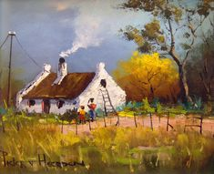 Pieter van Heerden - Busy Cooking x Landscape Art, Landscape Paintings, African Paintings, South African Artists, Cottage Art, Old Farm, Modern Landscaping, Cool Art, Fun Art