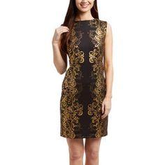 Sandra Darren Black & Gold Filigree Sheath Plus Sz Dress Sz 14, 18, 20, 24 NWT #SandraDarren #Sheath #Cocktail