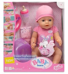 BABY Born Interactive Doll has lots of lifelike functions which all work without a battery: Crying, eating porridge, drinking from her bottle, soiling. Baby Born, Baby Alive Dolls, Baby Dolls, Toddler Christmas Gifts, Zapf Creation, Toddler Girl Gifts, Cool Kids Bedrooms, Baby Doll Nursery, Baby Doll Accessories