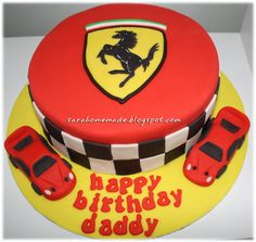 Ferrari Cake Lamborghini Cake, Ferrari Cake, Ferrari Party, Crazy Cakes, Beautiful Cakes, Amazing Cakes, Cars Theme Cake, 8th Birthday Cake, Car Cookies