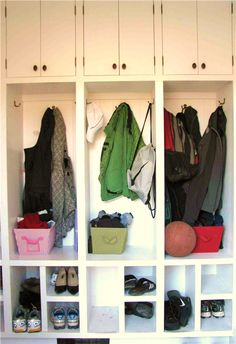 mud room ideas for the garage | ... shoes and backpacks for the entire family in this re-designed mudroom
