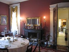 """Bartow-Pell Mansion. Bronx NY. The color on the wall was popular for dining rooms during this time, they thought it """"whet the appetite"""", not sure I agree."""