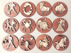 """Zodiac magnets made from wood, laser cut.  * Dimension: 6cm / 2.4"""", thickness with zodiac contoure 6mm / 0.24"""". * Choose your zodiac sign from 12 signs. * 1 peace. * Materials: wood. * It will come nicely gift wrapped."""