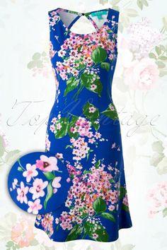 Fever Blue Floral A line Dress 106 39 13945 20150318 0002W2