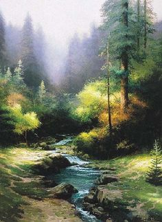 Thomas Kinkade Creekside Trail painting for sale, this painting is available as handmade reproduction. Shop for Thomas Kinkade Creekside Trail painting and frame at a discount of off. Watercolor Landscape, Landscape Art, Landscape Paintings, Oil Paintings, Thomas Kinkade Art, Kinkade Paintings, Thomas Kincaid, Art Thomas, Art Carte