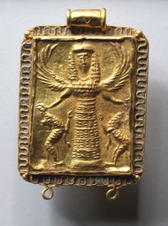 650-600 BCE.  Winged Artemis holding two rampant lions. Burnished Gold pendant  with alternating cloisons of green and blue glass enamel - which is the earliest use of this substance yet known in Greek gold jewelry.                                                Rhodian, Eastern Greece
