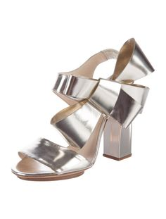 073961699764 Delpozo Metallic Silver Sandals With Bow Accents