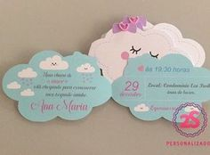 Convite Chuva de amor Little Girl Birthday, Baby Birthday, First Birthday Parties, First Birthdays, Cloud Party, Baby Party, Unicorn Party, Baby Shower Cakes, Party Time