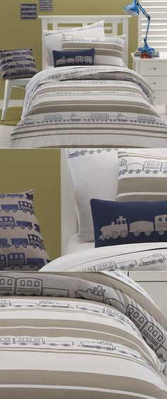 Cotton Box - Trains by Whimsy  Mr M's Bedspread #incy interiors #dream children's room