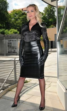 """I am stumbling on my knees, trembling, shaking as She calls me forward, then says """" Wait! All I can do is wait for whatever She has in store for me. Strict and Classy 1 Vinyl Dress, Satin Bluse, Leder Outfits, Dress Gloves, Lovely Legs, Blouse And Skirt, Leather Gloves, Skirt Fashion, Sexy Outfits"""
