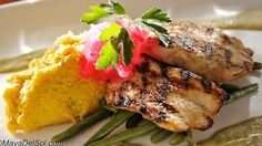 Pescado del Dia - Pan seared Mahi-Mahi served with sweet corn polenta ...