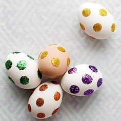Polka dot glitter eggs with glue dots might look a little better if painted 1st though