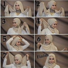 This is a very classy and gorgeous hijab look mainly for special occasions it looks flowing Simple and you can wear all your types of necklaces with this hijab style. You will need a ninja scarf for this look Its easy fashion high-heel shoes for women Stylish Hijab, Modern Hijab, Hijab Chic, Tutorial Hijab Pesta, Hijab Style Tutorial, Hijab Mode Inspiration, Turban Hijab, Hijabs, Beau Hijab