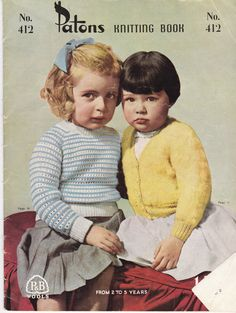 Patons Knitting Pattern No 412 For Children Boys and Girls Aged from 2 to 5 years Vintage 1950s.  This is a very 50s inspired pattern filled with