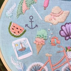A Day At The Beach hand embroidery hoop art 5 by MoonriseWhims