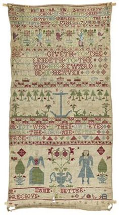 English Sampler ~ Mary Derow ~ St Clement Danes School (Chorleywood, Hertfordshire, England) ~ Band sampler ~ dated 1723 ~ The Fitzwilliam Museum