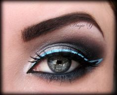 Electric Blue liner over smokey eye