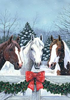 Horses in the Snow Christmas Garden Flag Welcome Garland Holiday Carson FlagTrends garden flag x Two sided design and lettering For use with a garden flag stand (not included, sold separately) Christmas Garden Flag, Western Christmas, Christmas Scenery, Christmas Horses, Noel Christmas, Christmas Animals, Country Christmas, Christmas Crafts, Christmas Design