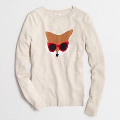 "J Crew Factory Intarsia Fox Sweater Cotton/acrylic/wool. Hits at hip. Long sleeves. Machine wash. Online exclusive. 19"" bust, 25"" long. Worn once. PRICE FIRM. J.Crew Factory Sweaters Crew & Scoop Necks"