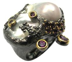 Baroque Pearl and Rhodolite Ring - Art Jouel International - Product Search - JCK Marketplace