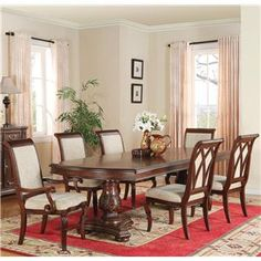 Granada Seven Piece Double Pedestal Table and Chair Set by Wynwood - Sheely's Furniture & Appliance - Dining 7 (or more) Piece Set Ohio, Youngstown, Cleveland, Pittsburgh, Pennsylvania