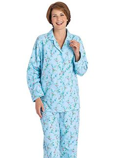 f427d905e3 AmeriMark Women s Cozy Flannel Pajamas MD (10-12)   Blue Floral at Amazon  Women s Clothing store